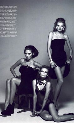 Catherine McNeil with Natasha Poly and Lily Donaldson by Peter Lindbergh for VOGUE Paris June 2008 | Fashion photography | Editorial