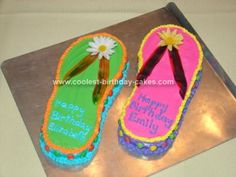 Homemade Flip Flop Birthday Cake Idea: I made these cakes for my twin girls' thirteenth birthday.  They are cute and easy to make.  I baked each cake in a 9x13 pan and froze them after they
