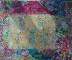 """For Sale  Spring 2014   """"Home""""  21"""" X 17""""  by Lisa Doffing  Acrylic Painting on canvas / Framed in wood"""