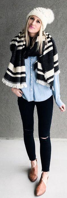 #winter #fashion /  White Beanie / Black & White Printed Scarf / Black Skinny Jeans / Brown Leather Flats