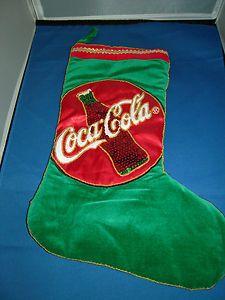 Coca Cola Collectible Christmas Stocking-----have but mine is red velvet :) Coca Cola Decor, Coca Cola Cake, Pepsi, Coke, Coca Cola Christmas, World Of Coca Cola, Xmas Tree Decorations, Red Velvet, Christmas Stockings