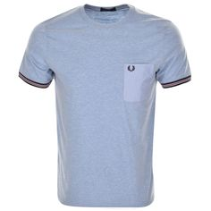 Fred Perry Crew Neck Bomber Stripe Cuff T Shirt in Light Smoke Marl Blue, A ribbed crew neckline with ribbed cuff on the short sleeves which feature a striped design in navy, red, and white. A pouch pocket feature on the left of the chest in a contrasting woven fabric which features the signature embroidered Fred Perry Laurel logo in navy. 100% Cotton. Brand New Collection Of Fred Perry Polos, T Shirts And Knit Wear Live Online UK.