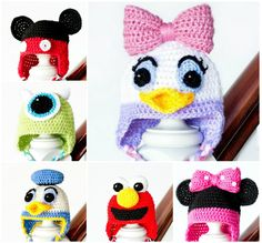 Crochet Character Hats. These are cute. Please follow me on Pinterest for more great patterns and other news!