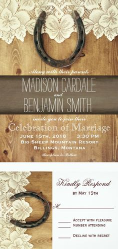 Country Western Horseshoe Lace Wedding Invitations for a rustic country cowboy wedding.  Unique Distressed Barn Wood Background.  Two Sided Design on your choice of paper.  40% OFF when you order 100+ Invites.  Easy to edit template.  #wedding #countrywedding #rusticwedding