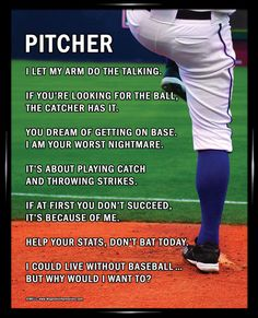 "Baseball Pitcher 8x10 Poster Print. Funny quotes like, ""Help your stats, don't bat today,"" will motivate your pitcher to win the ball game."