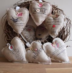 I love these burlap hearts. You could paint, stencil, stamp - so many possibilities!