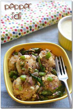 Mini Pepper Idli Recipe - Hotel Style | Easy Idli Varieties Lunch Box Recipes, Veg Recipes, Indian Food Recipes, Breakfast Recipes, Vegetarian Recipes, Cooking Recipes, Indian Snacks, Snacks Recipes, Vegetarian Cooking