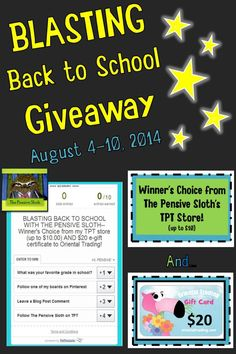 Blasting Back To School Giveaway from The Pensive Sloth and thelessondeli August 2014--Giveaway runs August 4-10, 2014.