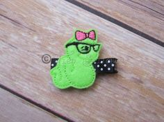 Bookworm nerd hair clip  felt hair clip  Feltie  by TiedStitches
