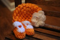 University of Tennessee Vols Orange Baby Puffy Beanie with Shell Toe Mary Janes.