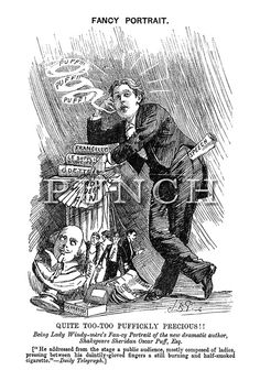 "On This Day in 1895 the Oscar Wilde trial for homosexuality started - Punch magazine Fancy Portrait: ""Quite Too-Too Puffickly Precious!! Being Lady Windy-mere's Fan-cy Portrait of the new dramatic author, Shakespeare Sheridan Oscar Puff, Esq."" - Punch magazine cartoon by Bernard Partridge, 1892"