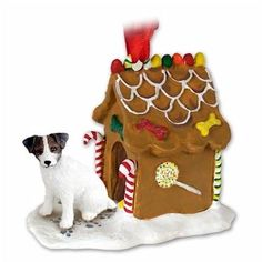 Brown and White Jack Russell Terrier with Rough Coat  Gingerbread House Ornament