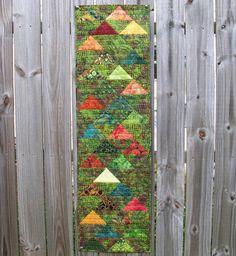 Volcano Batik Table Runner Triangles Wall by atthebrightspot