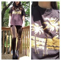 vintage gold glitter tee tshirt size m. glitter Palm tree graphic. excellent vintage condition. Vintage Tops
