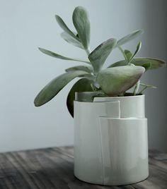 Large Hand Built Sculptural Porcelain Planter  Tiered