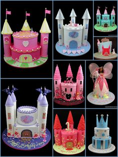 Castle birthday cakes, i may someday need a castle cake for a little girl! Fancy Cakes, Cute Cakes, Beautiful Cakes, Amazing Cakes, Bolo Fake Eva, Castle Birthday Cakes, Castle Cupcakes, Rodjendanske Torte, Bolo Cake