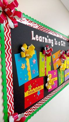 5 Christmas & Winter Bulletin Boards & Door Displays that Dazzle! — TREND enterprises, Inc. Whatever your reason for the season, use these 5 Christmas and winter display bulletin board and door décor ideas to make any space cozy, festive, and bright! December Bulletin Boards, Elementary Bulletin Boards, Christmas Bulletin Boards, Birthday Bulletin Boards, Teacher Bulletin Boards, Winter Bulletin Boards, Library Bulletin Boards, Preschool Bulletin Boards, Bulletin Board Display