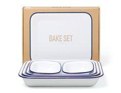 'Bake Set' - 5 plats en acier émaillé