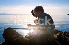 Father and Son Fishing royalty-free stock photo