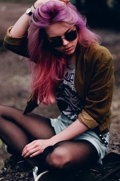 cute fashion hipster vintage indie Grunge punk purple hair pastel Alternative pastel hair pink hair dyed hair goth ombre emo scene shades sc...