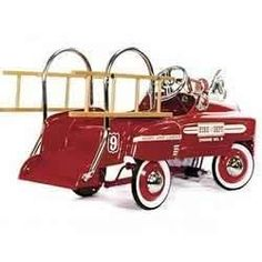 Red Fire Truck Pedal Car - Do you have a young fire fighter in the house? This pedal fire truck is designed after the famous Antique Toys, Vintage Toys, Power Cars, Kids Ride On, Pedal Cars, Fire Engine, Old Toys, Fire Trucks, Retro