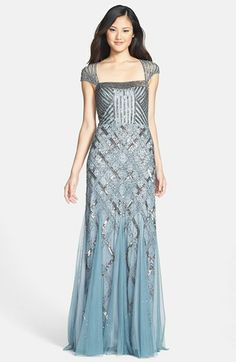 Adrianna Papell Embellished Mesh Mermaid Gown SLATE SIZE 10 #284 NWT