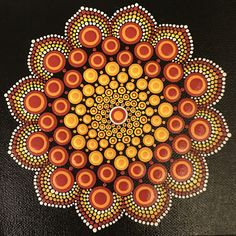 6x6 hand painted mandala stretched canvas