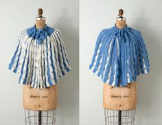 1950s crocheted shawl / 50s shawl / blue crocheted by SwaneeGRACE, $42.00