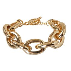 Humble Chic Gold Chainlink Bracelet (650 ARS) ❤ liked on Polyvore featuring jewelry, bracelets, accessories, nakit, goldtone chain cuff, chains jewelry, gold cuff bangle, gold jewelry, gold tone jewelry and chunky bangles
