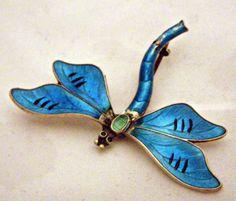Guilloche Enamel Sterling Silver Dragonfly Broach by JA  Store by eyessayall on Etsy, $150.00