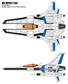 And now, for something quite different from the usual aircraft two-views I've been making... Here's the iconic Vic Viper starfighter of the Gradius video game series, in its T-301 iteration. First ...