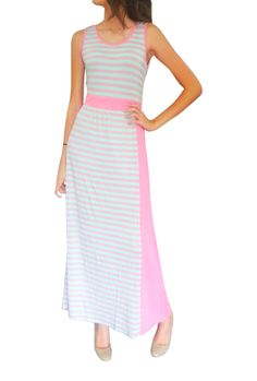 Buy this Maxi Dress With Banded Middle. Coral & Mint Stripes. 50% Cotton.