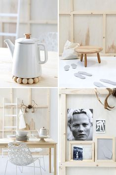 White & natural wood accessories