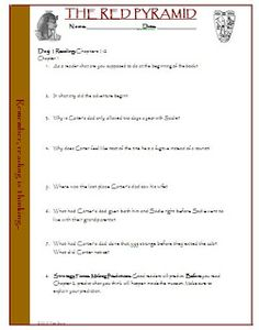 The Red Pyramid FREE questions and teacher answer key for Chapters 1-10!