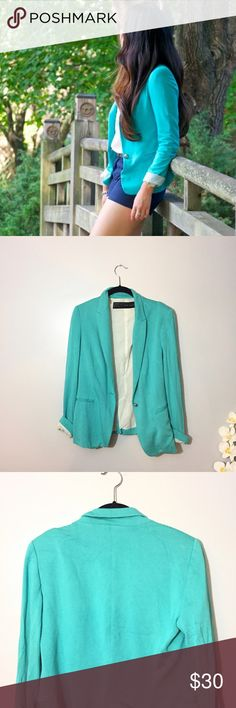 ZARA Turquoise Blazer No Trades - beautiful, stunning blazer in good condition. Size Medium. Turquoise Color. Inner lining has small rip on shoulder area - not noticeable when worn. Zara Jackets & Coats Blazers