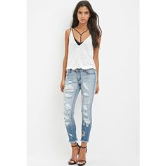 Forever 21 Destroyed Skinny Ankle Jeans ($35) ❤ liked on Polyvore featuring jeans, skinny jeans, ripped jeans, white ripped skinny jeans, torn jeans and zipper skinny jeans