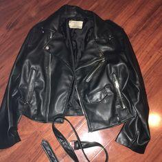 Zara leather jacket with belt Worn once it's a large but fits like a medium (: Zara Jackets & Coats