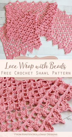Lacy stitches create a beautiful texture on this free crochet rectangle wrap pattern. Its a beautiful DIY project for spring, and special occasions such as a wedding. Crochet Wrap Pattern, Crochet Flower Patterns, Shawl Patterns, Lace Patterns, Crochet Gratis, Free Crochet, Knit Crochet, Beaded Crochet, Crochet Shawls And Wraps