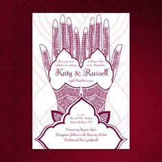 Printable Mehndi Hand Wedding Invitation 5x7/A5. $30.00, via Etsy.