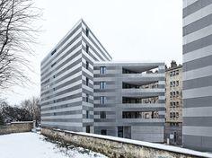 EM2N draws from adolf loos for striped parisian social housing as part of réaménagement de la porte pouche