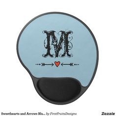 Sweethearts and Arrows Blue Monogram Gel Mouse Pad