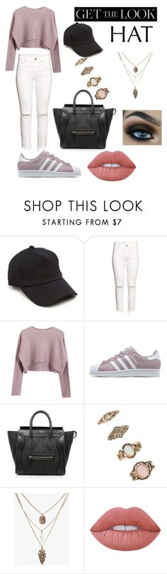 """Get the baseball hat look"" by vargassydney ❤ liked on Polyvore featuring rag & bone, H&M, Chicnova Fashion, adidas Originals, CÉLINE, Forever 21, Lime Crime, GetTheLook and hats"