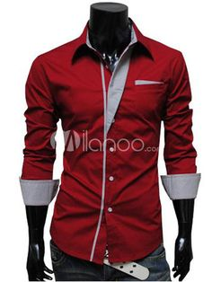 Chic Red Cotton Mens Fashion Casual Shirt - Milanoo.com