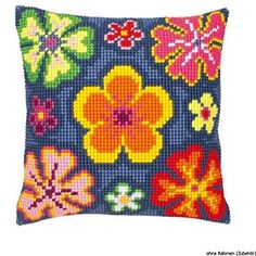 Vervaco Bright Flower Cross Stitch Cushion, Multi-Colour Product Name: Vervaco Bright Flower Cross Stitch Cushion, Multi-ColourNew - ships from United Kingdom via trackable airmail, delivered by Australia Post, due to current events allow 3-5 weeks for delivery. You will have tracking and can follow that.Manufacturer: Vervaco. EAN: 5413480161744.Packaged dimensions (LxWxH): 14.41 x 9.61 x 1.26 (inches). Cross Stitch Designs, Cross Stitch Patterns, Flower Power, Cross Stitch Cushion, Needlepoint Pillows, Needlepoint Kits, Bright Flowers, Motif Floral, Tapestry Crochet