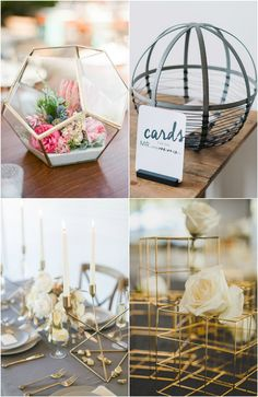 unqiue modern wedding centerpiece with geometric style