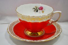 Tea Set Orange and Gold Adderley England Fine Porcelain  - pinned by pin4etsy.com