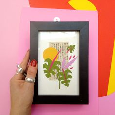 Collage Design, Vaporwave, Indoor Plants, Geometry, Texture, Paper, Frame, Handmade, Home Decor