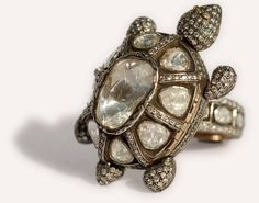 Turtle Ring | Munnu The Gem Palace - Turtle Ring  'Indo-Russian' style 'turtle' ring. A gold and silver ring with rose cut diamonds. The top can be opened for concealing a portrait.