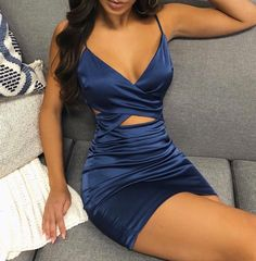 Spaghetti Strap Crisscross Cutout Bodycon Dress Vestidos women dress chiffon dress floral print sleeveless summer dress brief casual short dresses Pretty Dresses, Women's Dresses, Fashion Dresses, Blue Dresses, Dresses Online, Hawaiian Dresses, Satin Dresses, Dress Clothes For Women, Dresses For Work