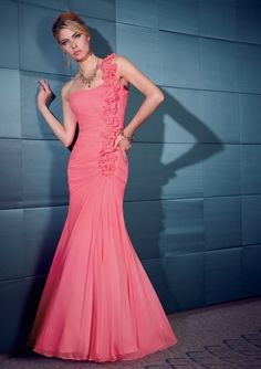 Free Shipping One Shoulder Flowers Mermaid Pink Mother of the Bride Dresses Evening Dress 2013
